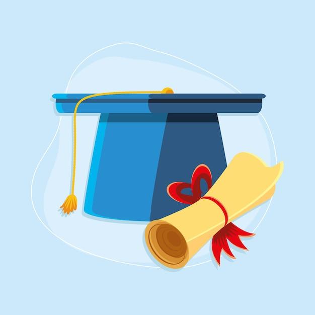 Rollo certificado y gorro de graduación