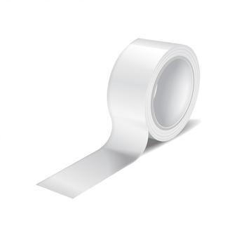 Rollo de cinta adhesiva blanca. plantilla realista de rollo de cinta adhesiva, cinta adhesiva