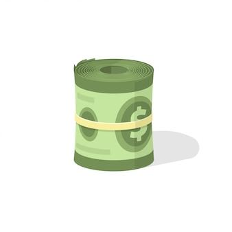Rollo de dinero en el icono de vector de diseño 3d