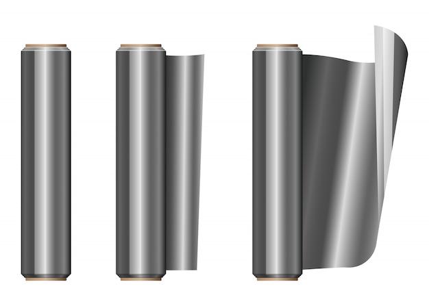 Rollo de papel de aluminio ilustración aislada en blanco