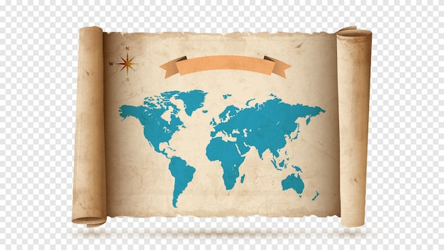 Rollo de papel antiguo o pergamino con mapa antiguo