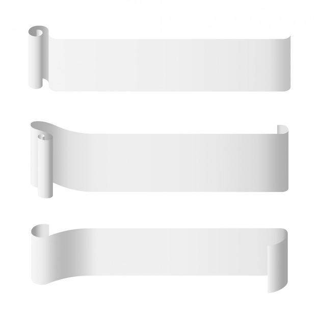 Rollo de papel blanco plantilla de banner largo
