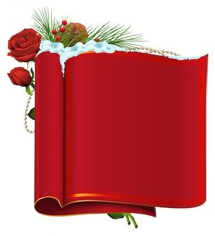 Rollo de papel en blanco rojo, rama de abeto, bayas y rosas