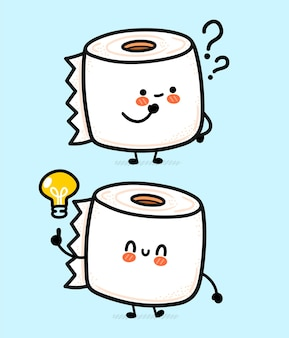 Rollo de papel higiénico blanco feliz divertido lindo con signo de interrogación y bombilla de idea