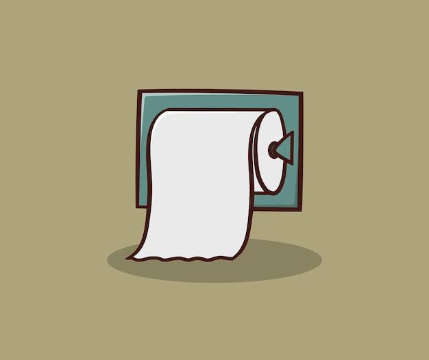 Rollo de papel higiénico con ilustración de dibujo a mano titular