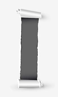 Rollo de papel rasgado blanco con espacio para texto