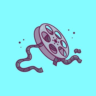 Rollo de película carrete icono ilustración. concepto de icono de cine de película aislado. estilo plano de dibujos animados