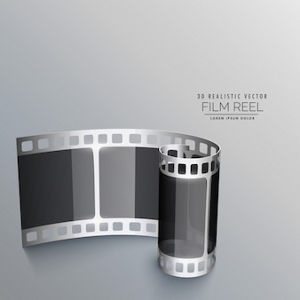 Rollo de película realista sobre un fondo gris