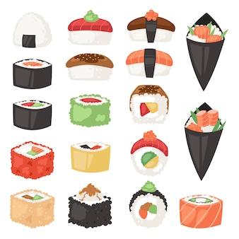 Rollo de sashimi de sushi de comida japonesa o nigiri y aperitivo con arroz de mariscos en la ilustración del restaurante de japón conjunto de cocina de japonificación aislado sobre fondo blanco