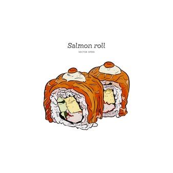 Rollo de sushi de color salmón, vector del bosquejo del drenaje de la mano.