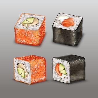 Rollo de sushi con ilustración de pollo