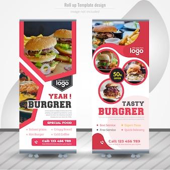 Rollos de comida diseño de banner para restaurante