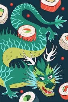 Rollos de comida japonesa poster diseño dibujado a mano. arroz de plato nacional de japón y mariscos crudos. banner publicitario de barra de sushi. menú de restaurante asiático o decoración de volante con dragón azul. ilustración vectorial
