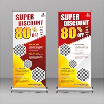 Rollos de geometría moderna roja y amarilla de pie super venta plantilla de banner de descuento, oferta especial