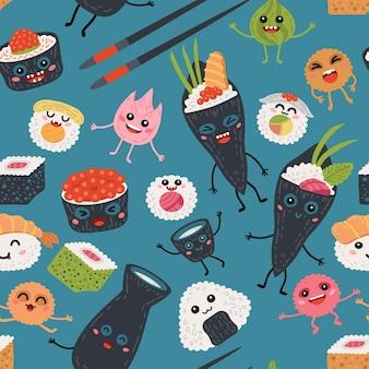 Rollos de kawaii de patrones sin fisuras y fondo de sushi para bebé. niños lindos comida de mar japonesa
