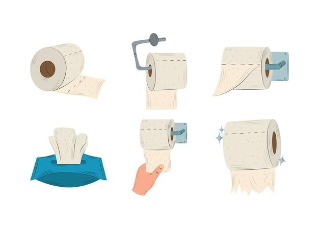Rollos de papel higiénico colgando, caja de pañuelos y mano con ilustración de colección de papel