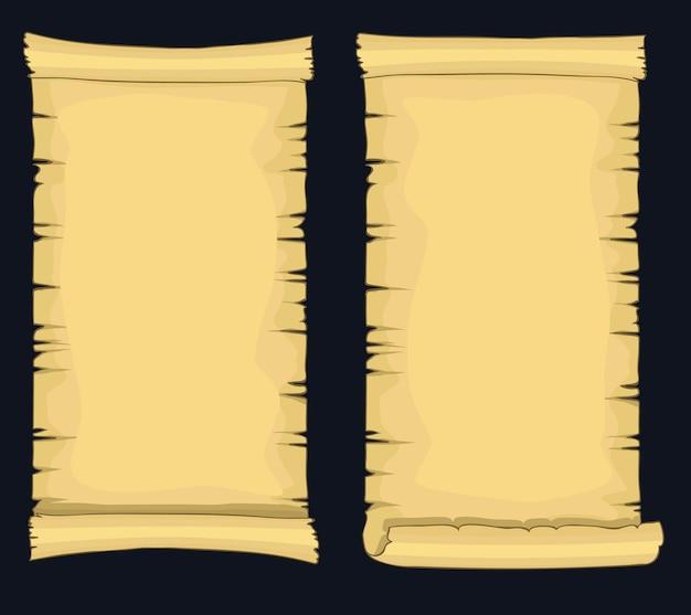 Rollos de papiro, rollo de papel en blanco envejecido, manuscrito amarillento retro medieval, plantilla de diploma o certificado.