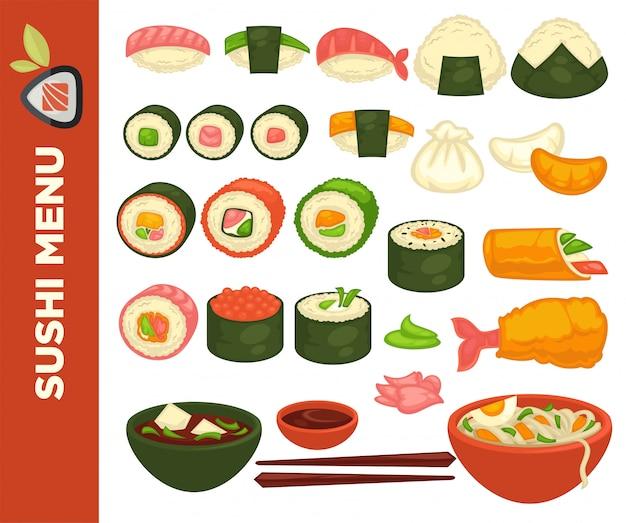 Rollos de sushi y cocina japonesa.