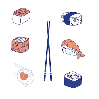 Rollos de sushi comida tradicional. cocina asiática