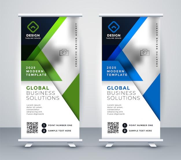 Rollup de negocios vertical banner geométrica standee