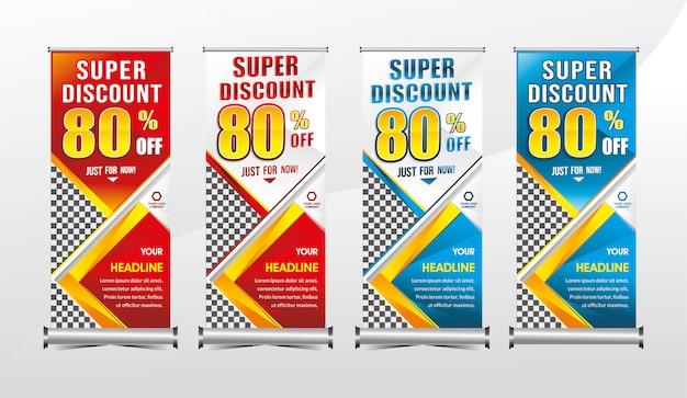 Rollup o plantilla x-banner permanente super oferta especial oferta descuento conjunto