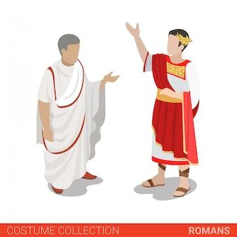 Roman empire caesar y senator ilustración vectorial.