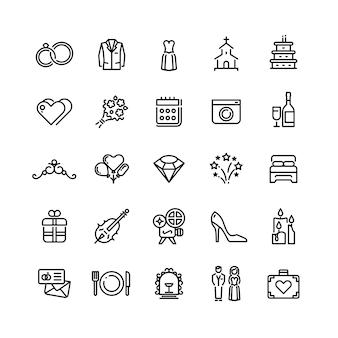 Romance boda celebración y amor en los iconos de línea de vector de matrimonio