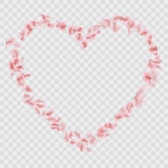 Romántica caída en forma de corazón de pétalos de sakura.