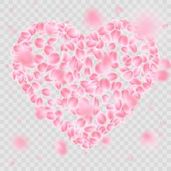 Romántica caída de pétalos de flores en forma de corazón. y también incluye