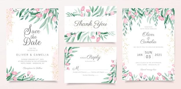 Romántica plantilla de tarjeta de invitación de boda floral con flores de acuarela, hojas y decorativos dorados. conjunto de tarjetas botánicas