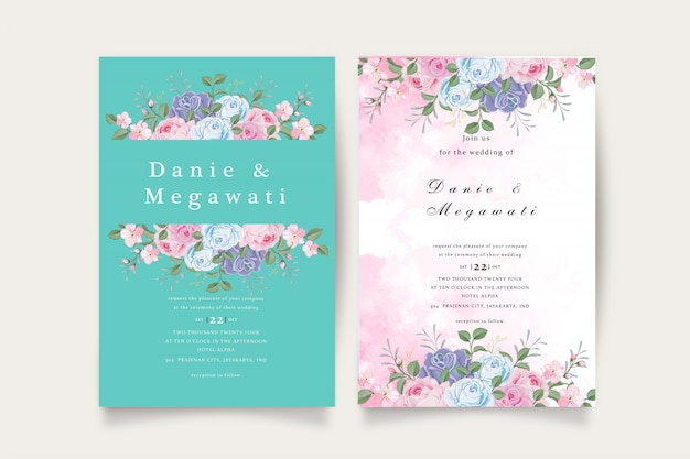Romántico conjunto de invitación de boda tosca azul floral