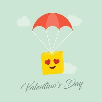 Romántico emoticono saltando en paracaídas