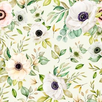 Romántico floral acuarela de patrones sin fisuras