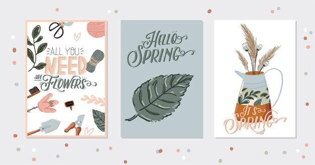 Romántico hello spring con elementos de jardín dibujados a mano, herramientas y letras románticas.
