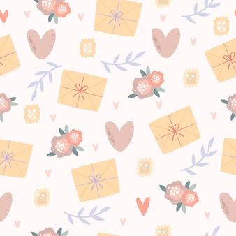 Romántico pastel de patrones sin fisuras