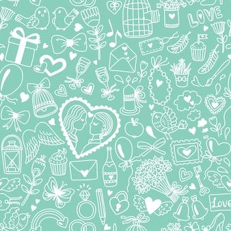 Romántico de patrones sin fisuras en estilo de dibujos animados. ilustración de boda o día de san valentín