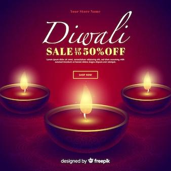 Romántico realista diwali ventas especiales y velas