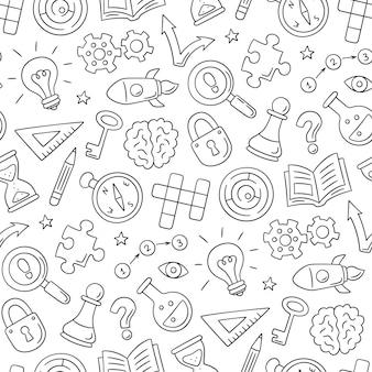 Rompecabezas y acertijos. mano dibujada de patrones sin fisuras con crucigrama, laberinto, cerebro, pieza de ajedrez, bombilla, laberinto, engranaje, cerradura y llave.