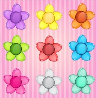 Rompecabezas de flores botón colorido gelatina brillante en diferentes colores.