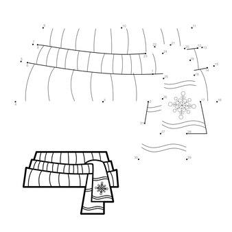 Rompecabezas de navidad punto a punto para niños. conecte el juego de puntos. ilustración de vector de bufanda