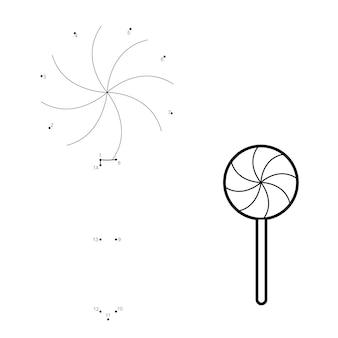 Rompecabezas de navidad punto a punto para niños. conecte el juego de puntos. ilustración de vector de caramelo