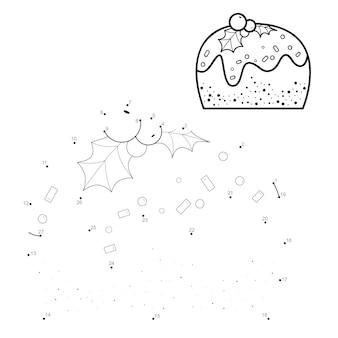 Rompecabezas de navidad punto a punto para niños. conecte el juego de puntos. ilustración de vector de pastel