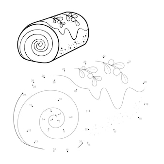 Rompecabezas de navidad punto a punto para niños. conecte el juego de puntos. ilustración de vector de postre