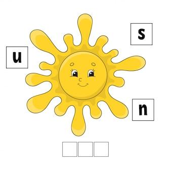 Rompecabezas de palabras hoja de trabajo de desarrollo educativo. juego de aprendizaje para niños.