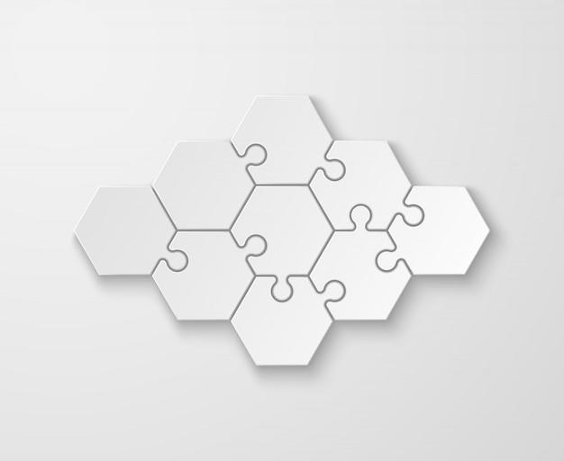 Rompecabezas de pensamiento en blanco blanco. proceso y paso infografía abstracta, comparando plantilla de pestaña