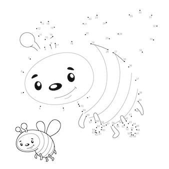 Rompecabezas de punto a punto para niños. conecte el juego de puntos. abeja ilustracion