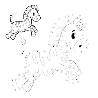 Rompecabezas de punto a punto para niños. conecte el juego de puntos. ilustración de cebra