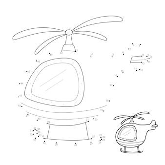 Rompecabezas de punto a punto para niños. conecte el juego de puntos. ilustración de helicóptero