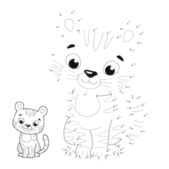 Rompecabezas de punto a punto para niños. conecte el juego de puntos. ilustración de tigre