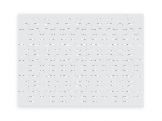 Rompecabezas rectangular de piezas de color blanco.